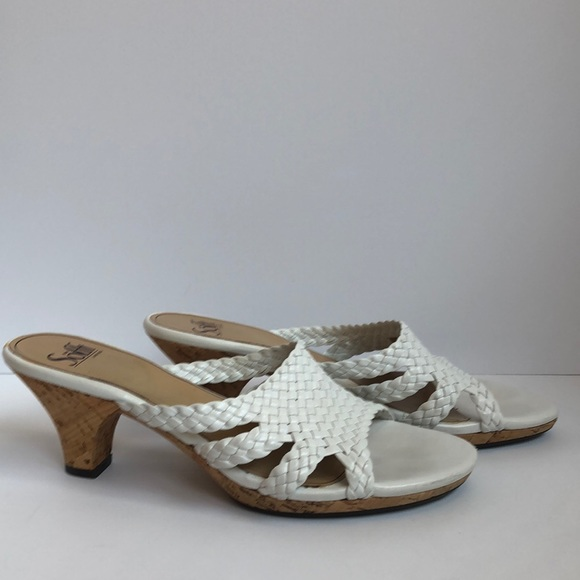 Sofft white woven slip on heel with cork 8.5